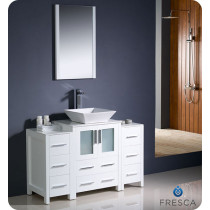 Fresca Torino (single) 48-Inch White Modern Bathroom Vanity with Vessel Sink