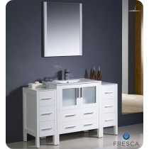 Fresca Torino (single) 54-Inch White Modern Bathroom Vanity with Integrated Sink