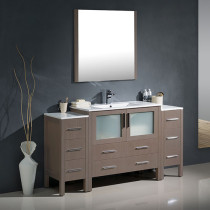 Fresca Torino (single) 59.75-Inch Gray Oak Modern Bathroom Vanity with Integrated Sink