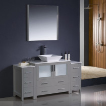 Fresca Torino (single) 59.75-Inch Gray Modern Bathroom Vanity with Vessel Sink