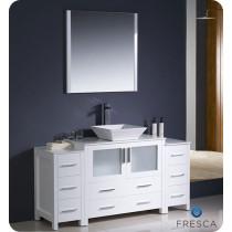 Fresca Torino (single) 59.75-Inch White Modern Bathroom Vanity with Vessel Sink