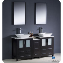 Fresca Torino (double) 60-Inch Espresso Modern Bathroom Vanity with Vessel Sinks