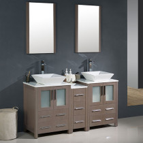 Fresca Torino (double) 60-Inch Gray Oak Modern Bathroom Vanity with Vessel Sinks