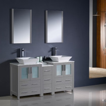 Fresca Torino (double) 60-Inch Gray Modern Bathroom Vanity with Vessel Sinks
