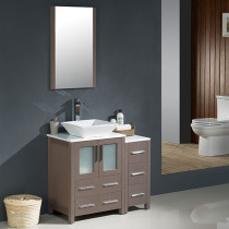Fresca Torino (single) 36-Inch Gray Oak Modern Bathroom Vanity with Vessel Sink