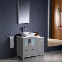 Fresca Torino (single) 36-Inch Gray Modern Bathroom Vanity with Vessel Sink