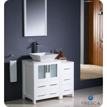 Fresca Torino (single) 36-Inch White Modern Bathroom Vanity with Vessel Sink