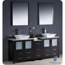 72 in vanity double sink. Fresca Torino  double 72 Inch Espresso Modern Bathroom Vanity with Vessel Sinks Double Vanities to 90 Inches