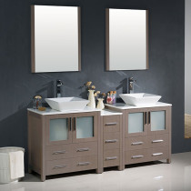 Fresca Torino (double) 72-Inch Gray Oak Modern Bathroom Vanity with Vessel Sinks
