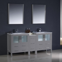 Fresca Torino (double) 72-Inch Gray Modern Bathroom Vanity with Integrated Sinks