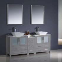 Fresca Torino (double) 72-Inch Gray Modern Bathroom Vanity with Vessel Sinks