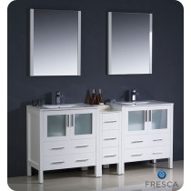 Fresca Torino (double) 72-Inch White Modern Bathroom Vanity with Integrated Sinks