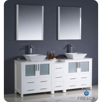Fresca Torino (double) 72-Inch White Modern Bathroom Vanity with Vessel Sinks