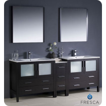 Fresca Torino (double) 83.5-Inch Espresso Modern Bathroom Vanity with Integrated Sinks