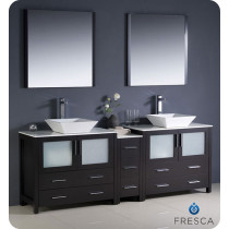 Fresca Torino (double) 83.5-Inch Espresso Modern Bathroom Vanity with Vessel Sinks