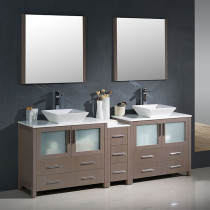 Fresca Torino (double) 83.5-Inch Gray Oak Modern Bathroom Vanity with Vessel Sinks