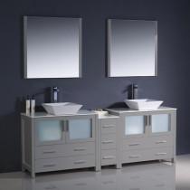 Fresca Torino (double) 83.5-Inch Gray Modern Bathroom Vanity with Vessel Sinks