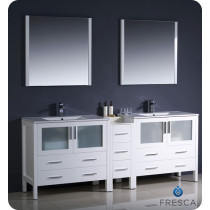 Fresca Torino (double) 83.5-Inch White Modern Bathroom Vanity with Integrated Sinks