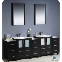 Fresca Torino (double) 84-Inch Espresso Modern Bathroom Vanity with Integrated Sinks
