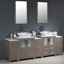 Fresca Torino (double) 84-Inch Gray Oak Modern Bathroom Vanity with Vessel Sinks