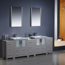 Fresca Torino (double) 84-Inch Gray Modern Bathroom Vanity with Integrated Sinks