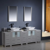 Fresca Torino (double) 84-Inch Gray Modern Bathroom Vanity with Vessel Sinks