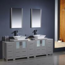 Fresca Torino (double) 84-Inch Gray Modern Bathroom Vanity with Vessel Sinks