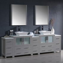 Fresca Torino (double) 96-Inch Gray Modern Bathroom Vanity with Vessel Sinks