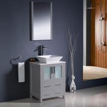 Fresca Torino (single) 24-Inch Gray Modern Bathroom Vanity with Vessel Sink