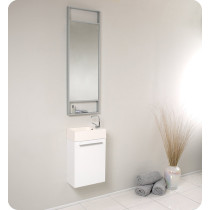 Fresca Pulito (single) 15.5-Inch White Modern Wall-Mount Bathroom Vanity Set