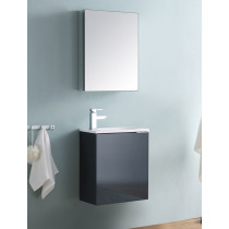 Fresca Valencia (single) 19.7-Inch Glossy Gray Modern Wall-Mount Bathroom Vanity Set