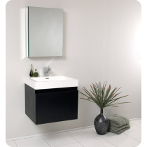 Fresca Nano (single) 23.4-Inch Black Modern Wall-Mount Bathroom Vanity Set