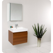 Fresca Nano (single) 23.4-Inch Teak Modern Wall-Mount Bathroom Vanity Set