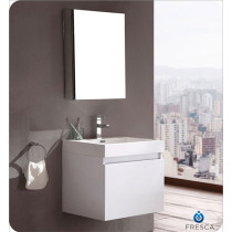 Fresca Nano (single) 23.4-Inch White Modern Wall-Mount Bathroom Vanity Set