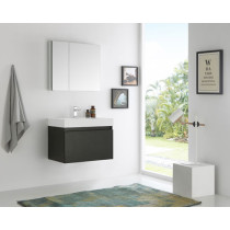 Fresca Mezzo (single) 29.5-Inch Black Modern Wall-Mount Bathroom Vanity Set