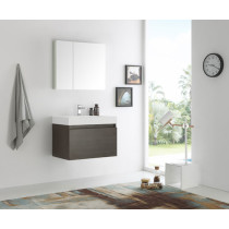 Fresca Mezzo (single) 29.5-Inch Gray Oak Modern Wall-Mount Bathroom Vanity Set