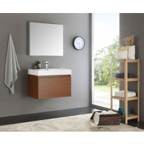 Fresca Mezzo (single) 29.5-Inch Teak Modern Wall-Mount Bathroom Vanity Set