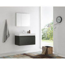 Fresca Mezzo (single) 35.4-Inch Black Modern Wall-Mount Bathroom Vanity Set