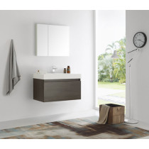 Fresca Mezzo (single) 35.4-Inch Gray Oak Modern Wall-Mount Bathroom Vanity Set