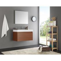 Fresca Mezzo (single) 35.4-Inch Teak Modern Wall-Mount Bathroom Vanity Set