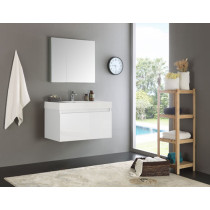 Fresca Mezzo (single) 35.4-Inch White Modern Wall-Mount Bathroom Vanity Set