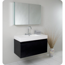 Fresca Mezzo (single) 39-Inch Black Modern Wall-Mount Bathroom Vanity Set