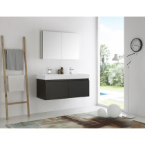 Fresca Mezzo (double) 47.3-Inch Black Modern Wall-Mount Bathroom Vanity Set