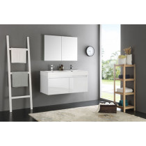 Fresca Mezzo (double) 47.3-Inch White Modern Wall-Mount Bathroom Vanity Set