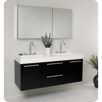 Double Sink Bathroom Cabinets. Fresca Opulento  double 54 Inch Black Modern Wall Mount Bathroom Vanity Set Double Vanities Discount Sink Sets