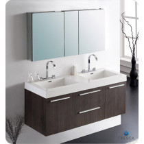Fresca Opulento (double) 54-Inch Gray Oak Modern Wall-Mount Bathroom Vanity Set