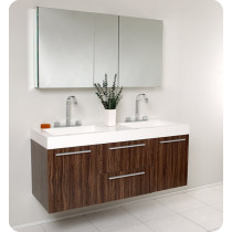 Fresca Opulento (double) 54-Inch Walnut Modern Wall-Mount Bathroom Vanity Set