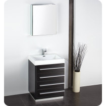 Fresca Livello (single) 23.4-Inch Black Modern Bathroom Vanity Set