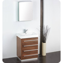 Fresca Livello (single) 23.4-Inch Walnut Modern Bathroom Vanity Set