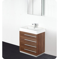 Fresca Livello (single) 29.4-Inch Walnut Modern Bathroom Vanity Set